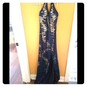 Blue & Silver Evening Gown